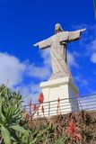 Estatua de Cristo el rey en Garajau, Madeira imágenes de archivo libres de regalías