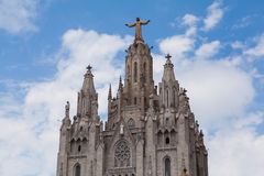 Estatua de Cristo en el soporte Tibidabo, Barcelona Foto de archivo