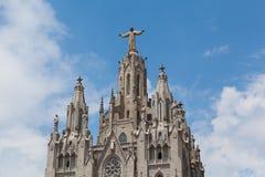 Estatua de Cristo en el soporte Tibidabo, Barcelona Fotografía de archivo libre de regalías
