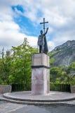 Estatua de Don Pelayo en Covadonga, montañas de Picos de Europa Imagen de archivo libre de regalías