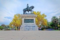 Estatua de general Joan Prim en Barcelona Imagenes de archivo