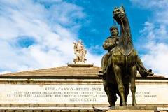 Estatua de Giuseppe Garibaldi en Génova Foto de archivo libre de regalías