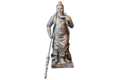 Estatua de Guan Yu aislada en el fondo blanco Fotografía de archivo libre de regalías