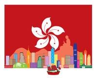 Estatua de Hong Kong Skyline y de Buda en el ejemplo del vector de la bandera de HK Imagen de archivo