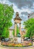 Estatua de Jean Del Cour en el santo Paul Square en Lieja, Bélgica fotografía de archivo libre de regalías
