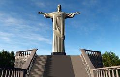 Estatua de Jesús en Rio de Janeiro el Brasil Corcovado ilustración del vector