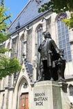 Estatua de Johann Sebastian Bach en Leipzig, Alemania Imágenes de archivo libres de regalías