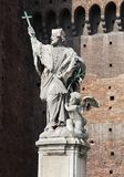 Estatua de Juan de Nepomuk en el castillo de Sforza Fotografía de archivo libre de regalías