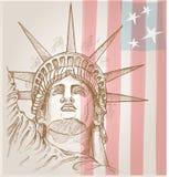 Estatua de la cara de la libertad stock de ilustración