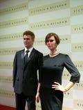 Estatua de la cera de David y de Victoria Beckham fotografía de archivo