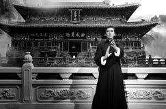 Estatua de la cera de los yenes del donnie, en la exhibición en los tussauds de la señora en Hong-Kong foto de archivo