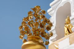 Estatua de la flor del oro los templos budistas del inThai del arte fotografía de archivo