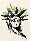 Estatua de la imagen del vector de las hojas de la marijuana de la libertad stock de ilustración