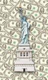 Estatua de la libertad - cientos fondos de los dólares de los E.E.U.U. Imagen de archivo libre de regalías