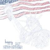 Estatua de la libertad con el indicador americano Foto de archivo