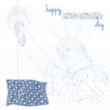 Estatua de la libertad con el indicador americano Cree en arte del garabato Diseño para cuarto la celebración los E.E.U.U. de jul Foto de archivo
