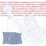 Estatua de la libertad con la bandera americana en el frente y el fuego artificial Diseño para cuarto la celebración los E.E.U.U. Foto de archivo libre de regalías