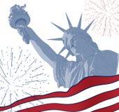 Estatua de la libertad con la bandera americana en el frente y el fuego artificial Diseño para cuarto la celebración los E.E.U.U. Foto de archivo
