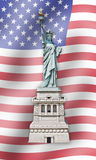 Estatua de la libertad - Estados Unidos - señale el fondo por medio de una bandera Fotografía de archivo