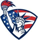 Estatua de la libertad que sostiene el blindaje llameante de la antorcha stock de ilustración