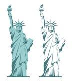 Estatua de la libertad y de la puesta del sol de New York City Fotos de archivo