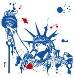 Estatua de la libertad y de la puesta del sol de New York City Imagen de archivo