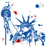 Estatua de la libertad y de la puesta del sol de New York City