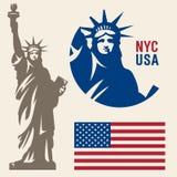 Estatua de la libertad y de la puesta del sol de New York City stock de ilustración