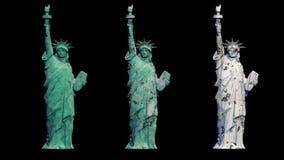 Estatua de la libertad y de la puesta del sol de New York City nueva y vieja visión gire la animación Mate alfa libre illustration