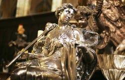 Estatua de la plata de Liberty Symbol Lady With Scepter Fotografía de archivo libre de regalías
