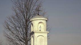 Estatua de la Virgen María con Jesús Pequeña cruz cristiana, cielo azul y árbol en fondo almacen de video