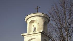 Estatua de la Virgen María con Jesús Pequeña cruz cristiana, cielo azul y árbol en fondo metrajes