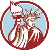 Estatua de Liberty Holding Flaming Torch Circle retra ilustración del vector