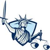 Estatua de Liberty Holding Scales Justice Sword ilustración del vector