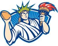 Estatua de Liberty Throwing Football Ball Foto de archivo