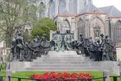 Estatua de los hermanos de Van Eyck, Gante, Bélgica imagen de archivo