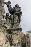 Estatua de Madonna, del St Dominic y de Thomas Aquinas en Charles Foto de archivo libre de regalías