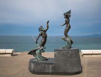 Estatua de Neptuno y de la sirena Imágenes de archivo libres de regalías