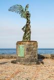 Estatua de Nike en la costa en la ciudad de Giardini Naxos Imágenes de archivo libres de regalías