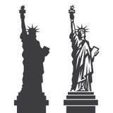 Estatua de Nueva York de la silueta de Liberty Vector stock de ilustración