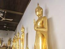 Estatua de oro de Buda en el templo de Somanas Rajavoraviharn, Bangko Imagen de archivo libre de regalías