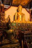Estatua de oro de Buda en iglesia en el templo de Rongngae en Nan Provinc Imagenes de archivo