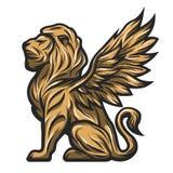 Estatua de oro de un león con las alas Foto de archivo