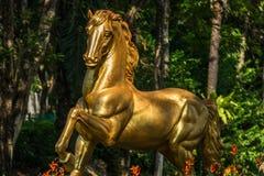 Estatua de oro del caballo delante de un hotel Fotos de archivo