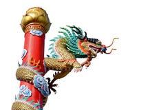 Estatua de oro del dragón del estilo chino aislada en blanco Fotos de archivo