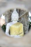 estatua de plata de Buda con el traje de oro en jardín Foto de archivo