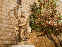 Estatua de rey David que toca la arpa Foto de archivo