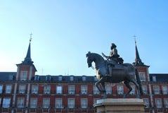 Estatua de rey Philips III, alcalde de la plaza, Madrid Imagen de archivo libre de regalías