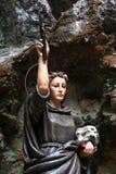 Estatua de Santa Rosalia, madera pintada Fotos de archivo
