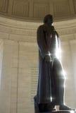 Estatua de Thomas Jefferson que refleja Sun Fotografía de archivo